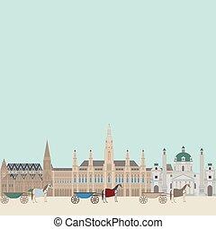 hall., ville, vienna., éléments, repère, voyage, vues, ville, autriche, karlskirche, architecture, cityscape, autrichien, stephansdom, voyage