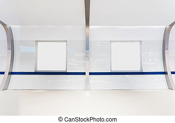 Hall with 2 blank billboard on concrete wall. with clipping path