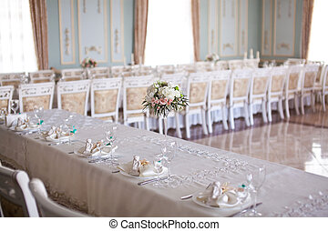 Hall with beautifully decorated wedding table
