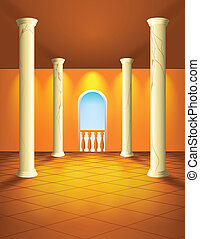 Hall with columns and balcony