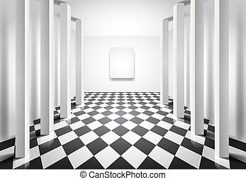 Hall with columns and blank canvas - Editable vector...