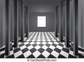 Hall with columns and blank canvas - Editable vector...
