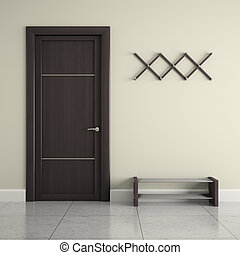 Hall with door, hanger and  stand for shoes