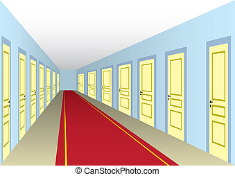 Hotel hall with doors and red carpet