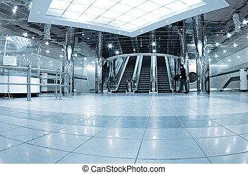 Hall with escalators