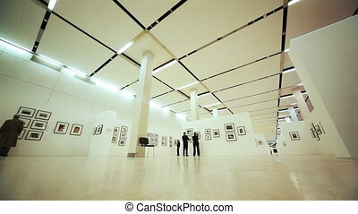 Hall with photos of exhibition to devoted Nikita Khruschev in Moscow House of Photography