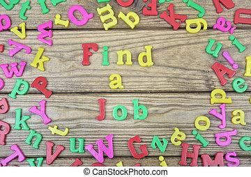 hallazgo, un, trabajo, en, tabla de madera
