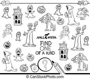hallazgo, uno clase, halloween, carácter, color, libro