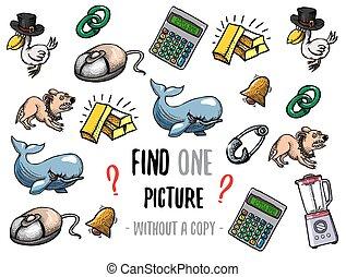 hallazgo, uno, imagen, educativo, juego