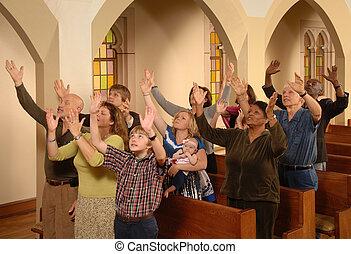Halleluia - Congregation lifting hands in worship