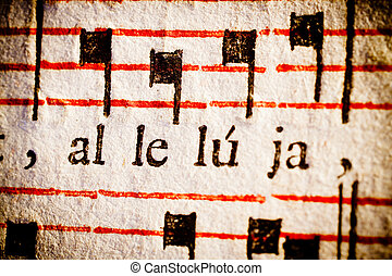 Hallelujah - Detail of a 17th century old Latin missal and...