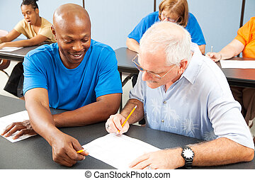 hallgató, oktat, idősebb, osztálytárs