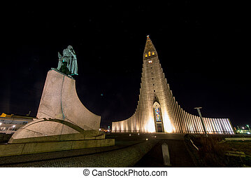 Hallgrimskirkja Cathedral in Reykjavik , Iceland - ...
