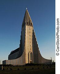 Hallgrimskirkja cathedral in Reykjavik (Iceland)