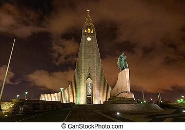 Hallgrimskirkja church Reykjavik Iceland taken at night with Lief Ericksson statue