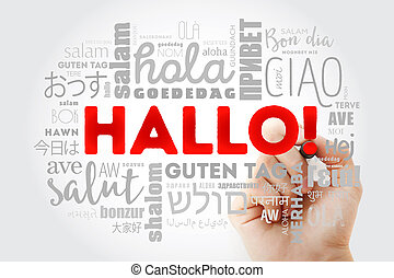 hallo, german), saudação, (hello, palavra, nuvem