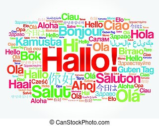 Hallo hello greeting in german word cloud in different languages hallo hello greeting in german word cloud in different languages of the world background concept m4hsunfo