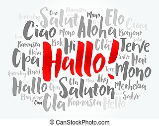 Hallo hello greeting in german word cloud in different vector hallo hello greeting in german word cloud in different languages of the world background concept m4hsunfo