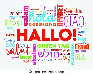 Hallo (Hello Greeting in German) word cloud in different...