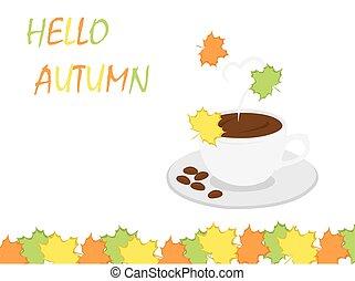 hallo, herfst, koffiekop, en, blad, achtergrond, voor, herfst, achtergrond