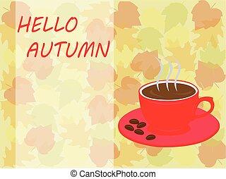 hallo, herfst, koffiekop, en, verlof, achtergrond, voor, herfst, achtergrond