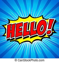 hallo, !-, komiker, vortrag halten , bubble.