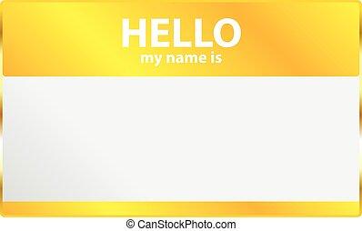 hallo, label, mijn, naam, etiket