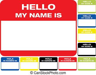 hallo, mein, name, etikett