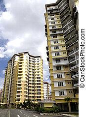 hallo-stijging, moderne, flats