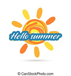 hallo summer with sun illustration