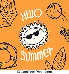 Hallo summervector concept with the sun. Hand drawn ...