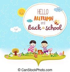 hallo, tot ziens, summer., gekke , herfst