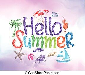hallo, zomer, kleurrijke, ontwerp