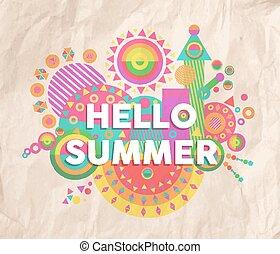 hallo, zomer, noteren, poster, ontwerp