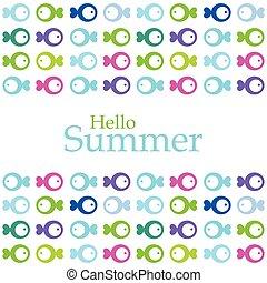 hallo, zomer, -, ontwerpen basis