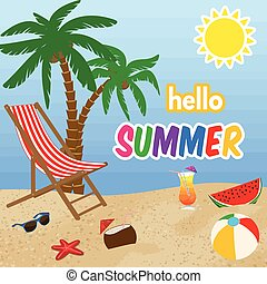 hallo, zomer, poster, ontwerp
