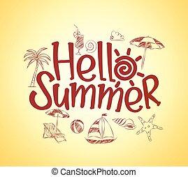 hallo, zomer, poster, ontwerp
