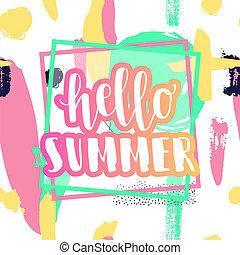 hallo, zomer, spandoek, en, reclame, ontwerp, poster