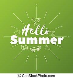 hallo, zomer, tekst, op, groene achtergrond, doodle, voorwerpen, vector, illustratie