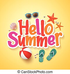 hallo, zomer, tekst, poster, ontwerp