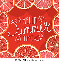 hallo, zomer, time., vector, illustratie, met, vruchten