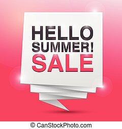 hallo, zomer, verkoop, poster, ontwerpen basis