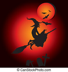 hallooween witch  - witch silhouette flying on a broomstick