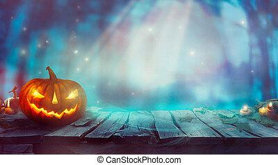 halloween, à, citrouille, et, sombre, forest., spooky, halloween, conception