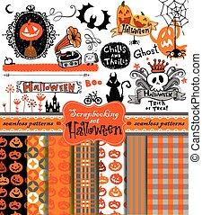 halloween, álbum de recortes, colección