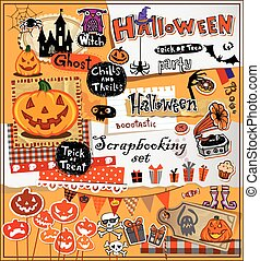 halloween, álbum de recortes, elementos