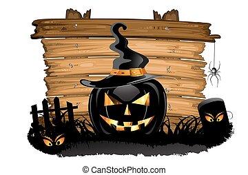 halloween, över, kyrkogård, struktur, ved, pumpa