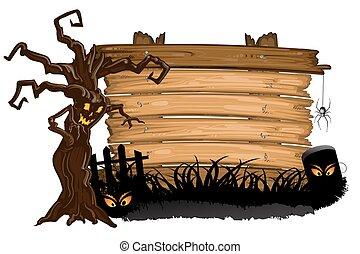 halloween, över, träd, struktur, ved, kyrkogård