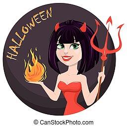 halloween., 女性の悪魔, 悪魔, trident, 1(人・つ), 炎, another., セクシー, 女の子, 手