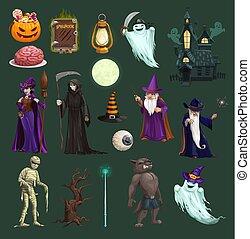 halloween 巫婆, 糖果, 鬼, 南瓜, 頭骨